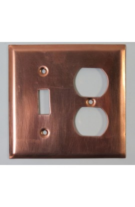 Electric plate, 1 double plug and 1 switch 4 5/8 X 4 1/2 inch - ( Pack of 1 ) Copper Ref: 948