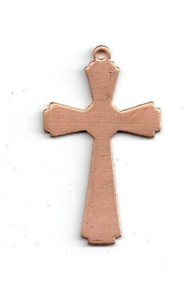 Pendant, cross 1 X 1 3/4 inch - ( Pack of 10 ) Copper Ref: 1059