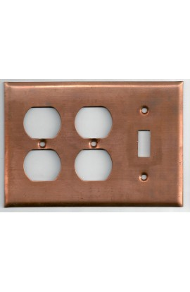 Electric plate, 1 switch and 2 doubles plug 6 3/8 X 4 7/16 inch - ( Pack of 1 ) Copper Ref: 1238