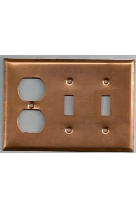 Electric plate, 2 switchs and 1 double plug 6 3/8 X 4 7/16 inch - ( Pack of 1 ) Copper Ref: 1239