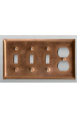 Electric plate, 3 switchs and 1 double plug 8 1/8 X 4 7/16 inch - ( Pack of 1 ) Copper Ref: 1240