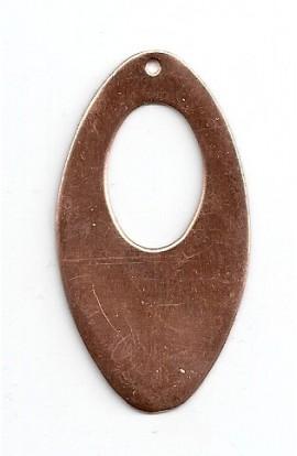 Pendentif, ovale, 27 X 43 mm avec trou 14 X 21 mm - ( Paquet de 5 ) Cuivre Ref: 1252
